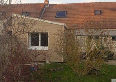 Extension pour la création d'une cuisine, toiture monopente