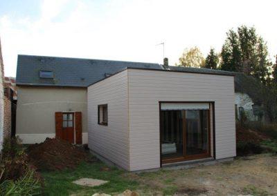 Extension arrière d'une maison ancienne avec toiture terrassse membrane EPDM
