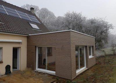 Toiture terrasse EPDM isolée, Bardage faux claire voix, création d'un séjour.